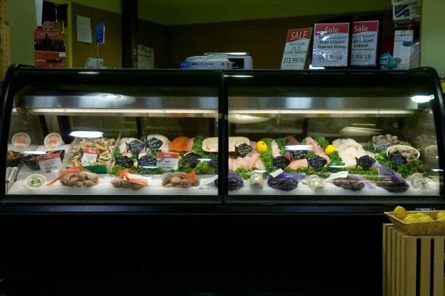Seafood in a refrigerated display case