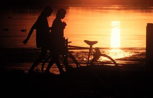 Biking in sunset