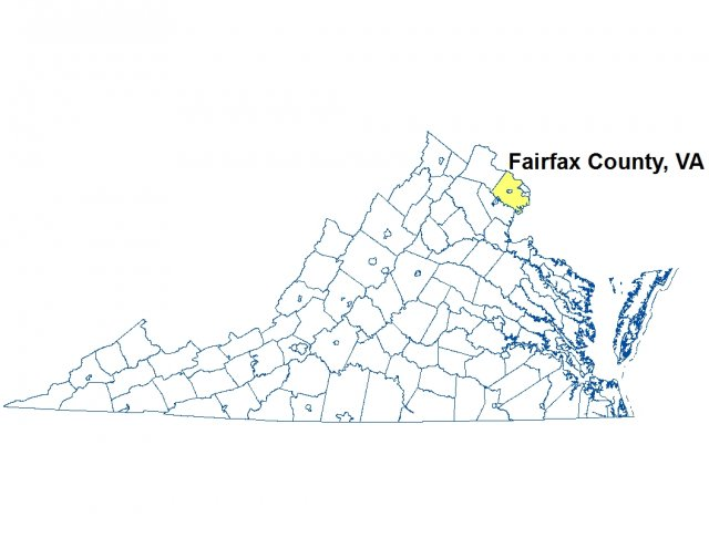 A map of Virginia highlighting the location of Fairfax County.
