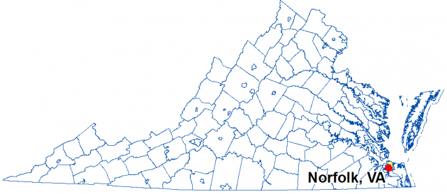 A map of Virginia highlighting the location of Norfolk.