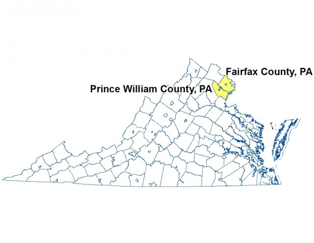 A map of Virginia highlighting the location of Prince William and Fairfax Counties