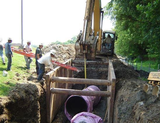 Installation of a pipe designated for the transport of non-potable water.