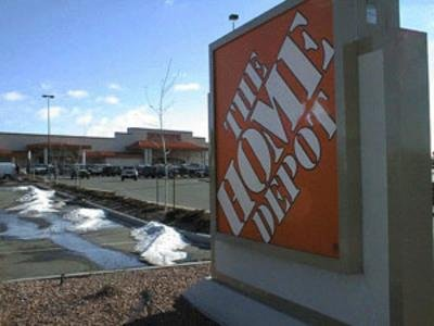 A sign outside of the Home Depot store completed in 1996 on the Denver Radium site