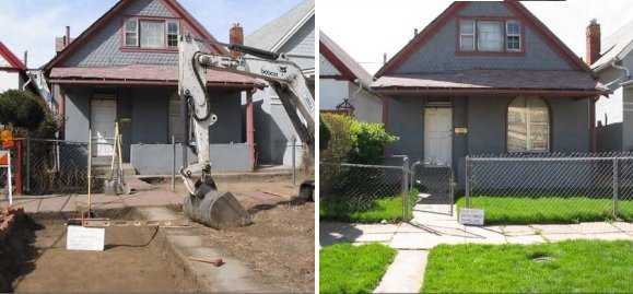 A residential property on site, before (left) and after (right) excavation work to remove contaminated soils