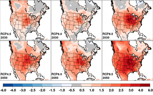 Maps showing downscaled Weather Research and Forecasting examples