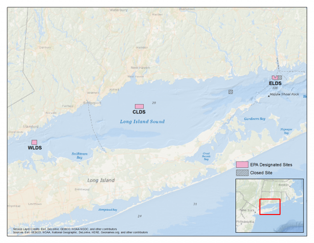 Map of Dredged Material Disposal Sites in Long Island Sound