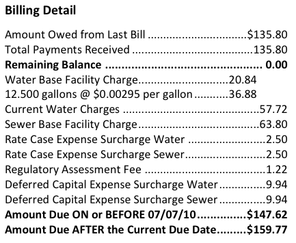 Example of a bill for our water
