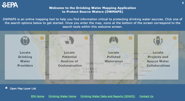 Welcome page of DWMAPS displays search tools for users to find information about drinking water sources.