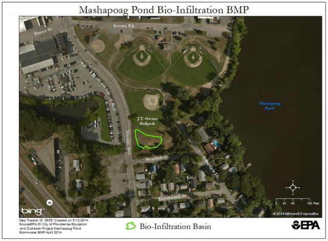 Aerial View of Mashapoag Pond Bio-Infiltration BMP at J.T. Owens Ballpark
