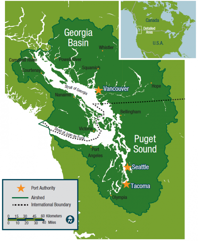 Map showing location of Puget Sound and Georgia Basin Airsheds