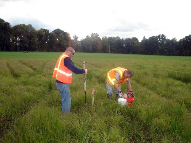 Taking a soil sample is a simple and routine process. Samples are collected using hand tools, such as a hand auger, and result in a 2-inch diameter hole. After each sample is taken, the hole is filled in.