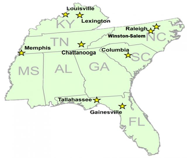 map marking cities in the southeast