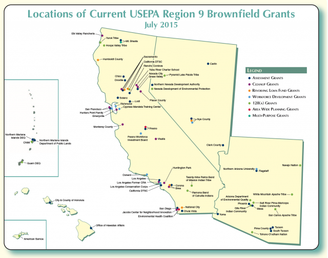 Map Of Arizona Nevada.Brownfields And Land Revitalization In California Arizona Nevada