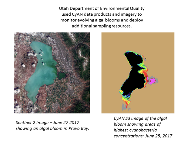 Satellite image of harmful algal bloom in Provo Lake