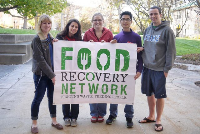 Five Drake students holding a Food Recovery Network sign