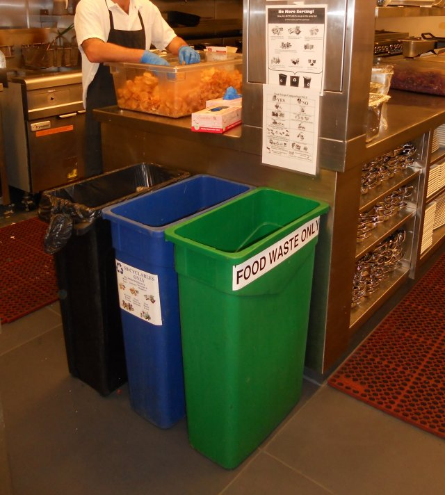 This is a picture of the sorting bins for food scraps, recycling and trash in a kitchen in the City of San Diego