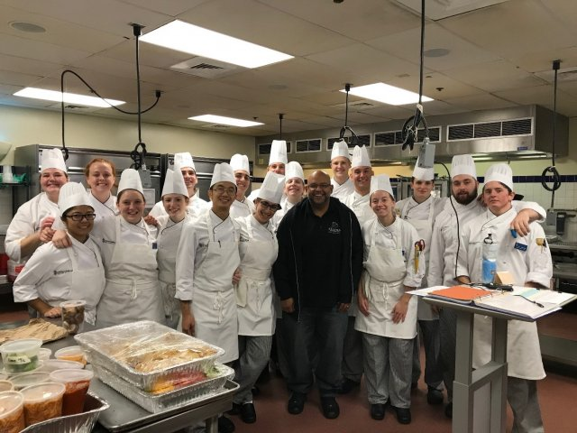 This is a picture of the kitchen staff at Johnson and Wales University