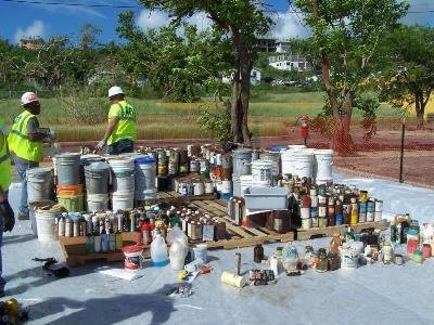 Containers of household hazardous waste collected for disposal after Hurrican Harvey