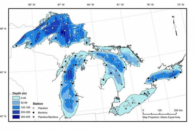 Map showing the R/V Lake Guardian annual survey sampling locations on the Great Lakes