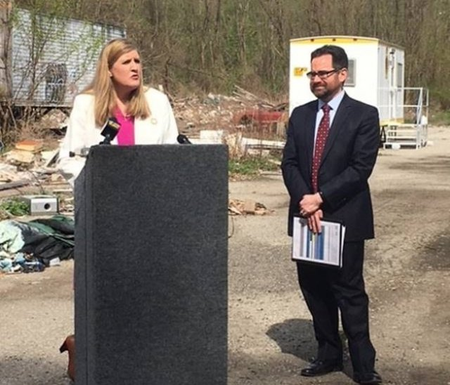 EPA Region 1 Administrator Alexandra Dunn and Connecticut Environmental Commissioner Robert Klee celebrate that the cleanup of the Raymark Industries Superfund Site in Stratford, Conn. will begin soon.