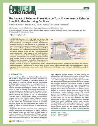 Image of first page of analysis published in October 2015 in the journal, Environmental Science & Technology. Click image to go to full article.