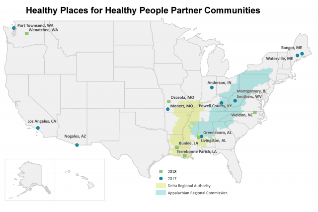 Map showing 2017 to 2018 Healthy Places for Healthy People partner communities