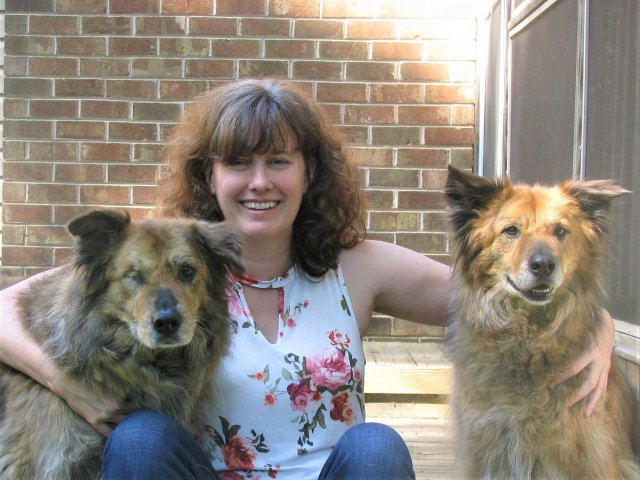 EPA researcher Megan Mehaffey with her dogs Bonnie and Clyde