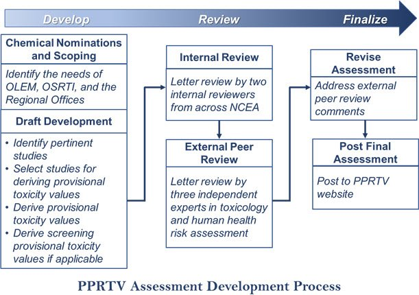This diagram illustrates the process the PPRTV program undergoes to produce an assessment.