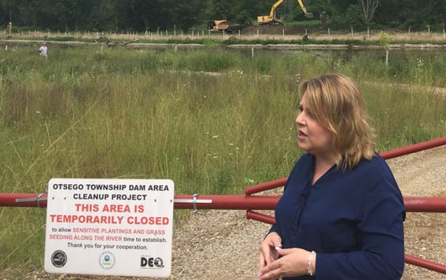EPA Region 5 Administrator Cathy Stepp discusses the progress made during the past year at the Kalamazoo River Superfund Site in Michigan