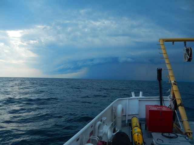The view from EPA's research vessel, the Lake Explorer II, between Toronto and Whitby, Ontario in July 2018. Researchers were aboard the vessel collecting data on the health of the Great Lakes.