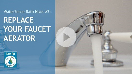 Running faucet thumbnail for bath hack video.