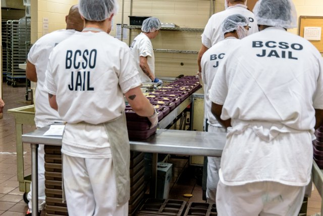 This is a picture of kitchen workers in the Boulder County jail.