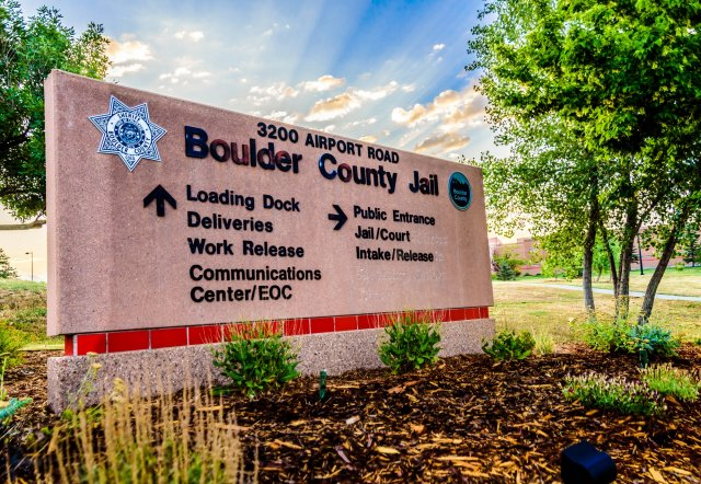 This is a picture of the sign outside the Boulder County Jail