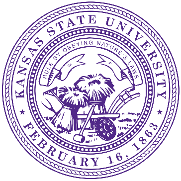 This is the Kansas University seal which is a purple circle with the date of February 16, 1863 on it as well as two stacks of hay and a wheel barrel.