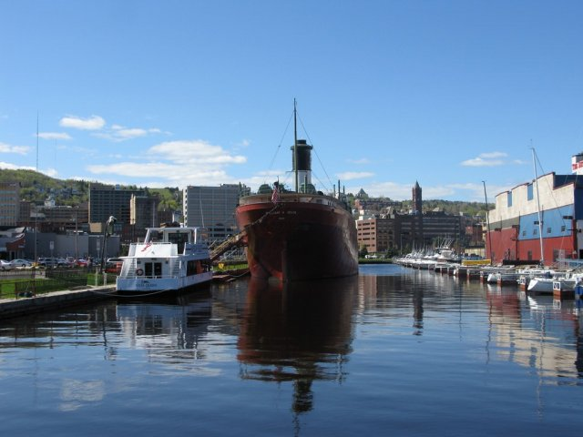 photo of The SS William A. Irvin which serves as a museum in the Minnesota Slip is now relocated for sediment remediation