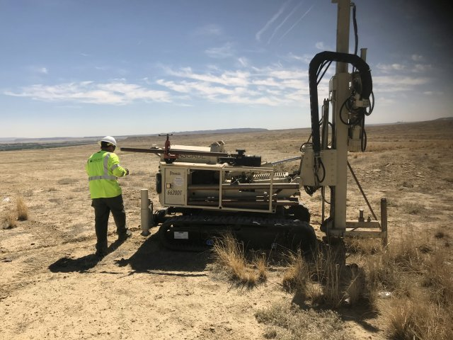 Cyprus Amax using a drill rig to take subsurface soil samples at the Climax Transfer Station in the Shiprock Chapter.