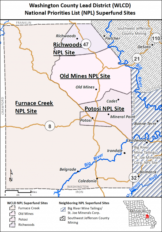 image of Washington County sites map March 2019