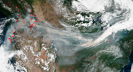 Satellite image of wildfire smoke crossing the US on the jet stream.