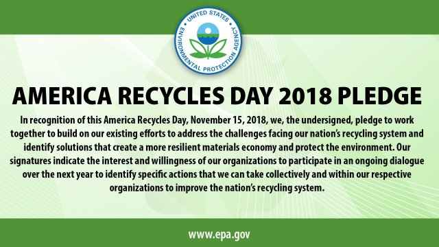 This is a photo of the America Recycles Day 2018 Pledge, signed by all 45 of the original participating organizations.
