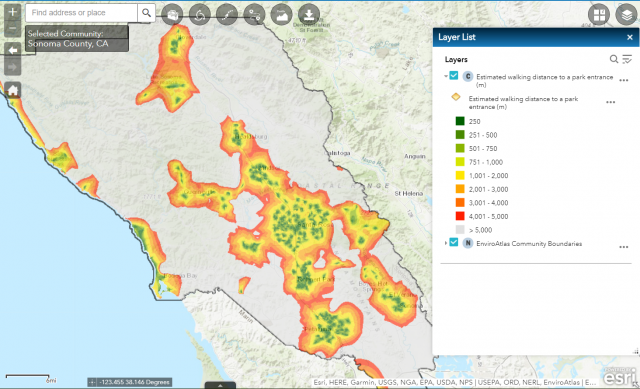 Example of EnviroAtlas map for Sonoma county, highlighting estimated walking distance to a park entrance. Parks come in many forms, from large forested parks to recreational fields, and were included in this analysis if they were within a 5km buffer aroun