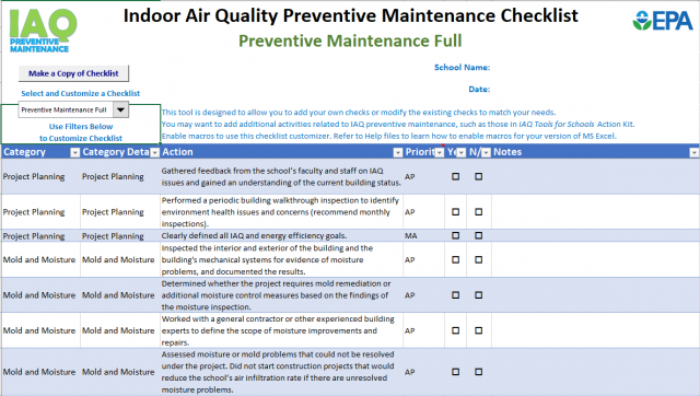 Indoor Air Quality Tools for Schools: Preventive Maintenance