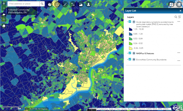 Example of EnviroAtlas map for Philadelphia - community boundaries for fine-scale community data extend far beyond the Philadelphia city limits to effectively cover an urban-to-rural gradient.