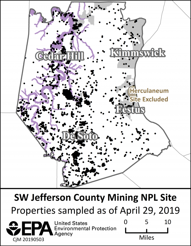 image of SW Jeff Co Mining NPL Site properties sampled map 4-29-19