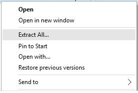 From the selected zip file's context menu, select the Extract All command