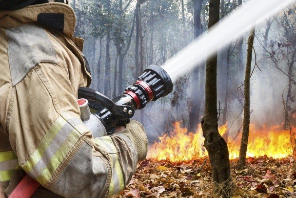 Firefighter fighting a fire