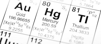 Picture of mercury (Hg) on the periodic table of elements