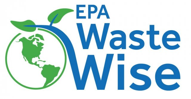 Logo that says EPA WasteWise with a photo of the globe