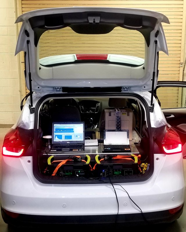 An EPA vehicle equipped with mobile air quality monitoring technology.