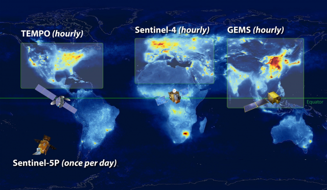 Constellation of geostationary air quality satellites in the northern hemisphere, along with European Space Agency Sentinel 5P TROPOMI polar orbiting satellite. Image: NASA LaRC