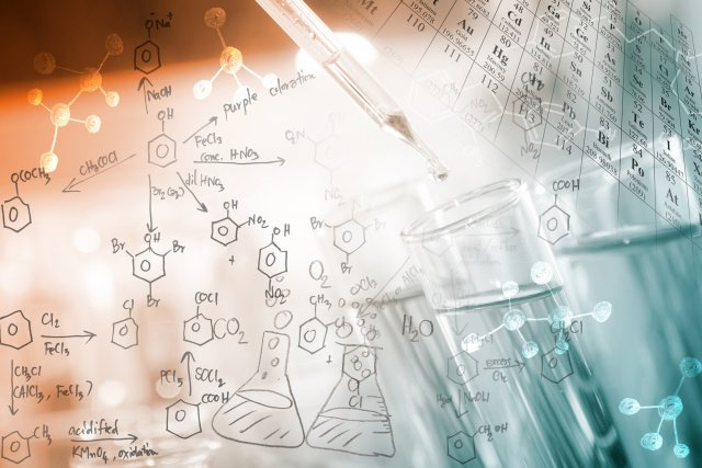 Image of pipette and chemical testing tube with chemical figures written in background and a corner of the periodic table also showing.